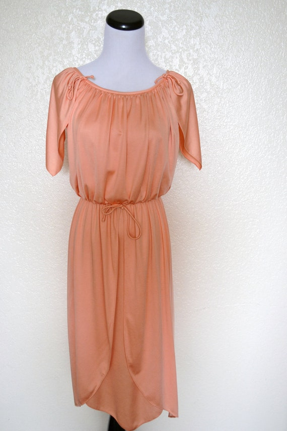 Vintage, peach, boho dress