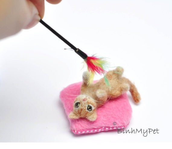 set of needle felted cat / kitten, miniature pillow and cat toy - custom felted cats - dollhouse miniatures