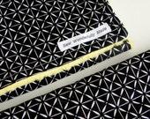 Baby Burp Cloths, Set of 2, Black Geometric Cotton and Yellow Bubble Dot Minky