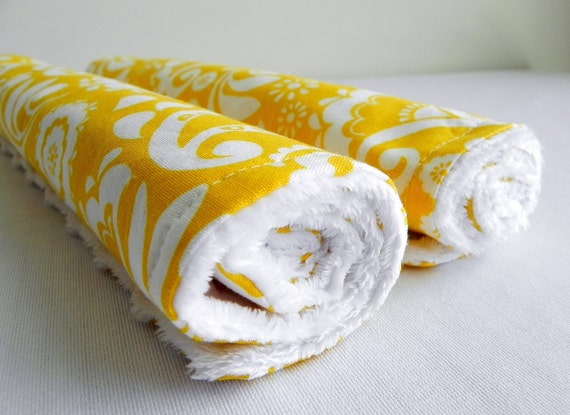 Baby Burp Cloths, Set of 2, Large Yellow Floral and White Bubble Dot Minky