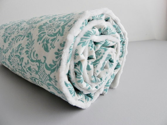 Baby Blanket, Turquoise and Ivory Damask and Vanilla Bubble Dot Minky