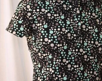 Mini Shirt Dress, white, grey and blue bubble print on black, vintage 1990s, S