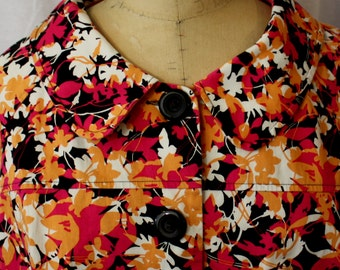 Floral Cropped Swing Jacket, vintage late 1950s/early 1960s style, size large to x-large (14-18)
