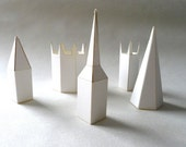 Paper sculpture Church Spires from the River Nene, pack to make 5