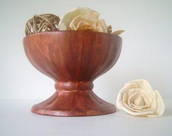 "Vintage Pedestal Vase / Bowl by Holland Mold, Faux Bois Finish, 4"" tall"
