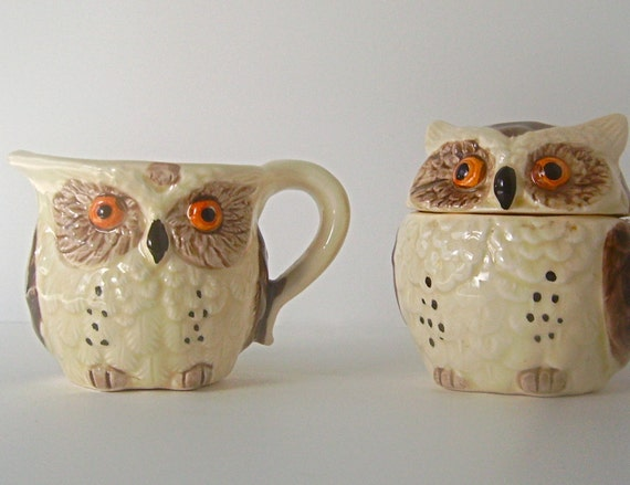 Vintage Enesco Porcelain Owl Cream and Sugar Set in Mint Condition, Made in Japan, From Original Release