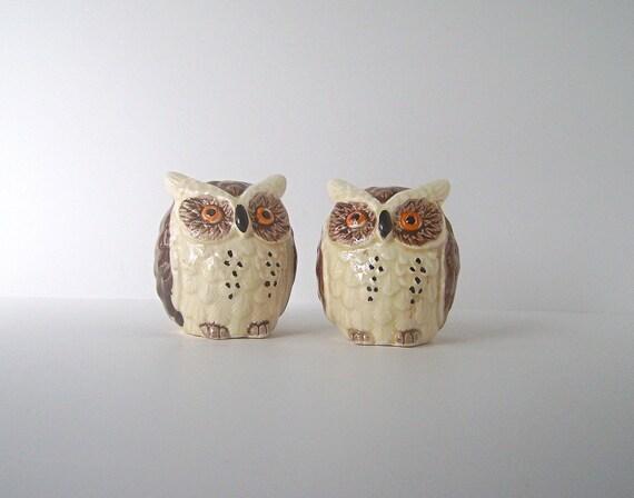 Vintage Enesco Porcelain Owl Salt and Pepper Shaker Set in Mint Condition, Made in Japan, From Original Release