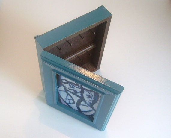 Key Holder Box, Vintage Modern Upcycled, Caribbean Blue, One of a kind.
