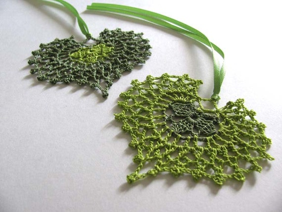 Green Heart Ornaments Set of Two
