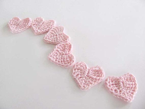 Mini Pink Heart Crochet Appliques Set of 6