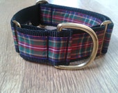 Martingale dog collar perfect for Christmas tartan and gold