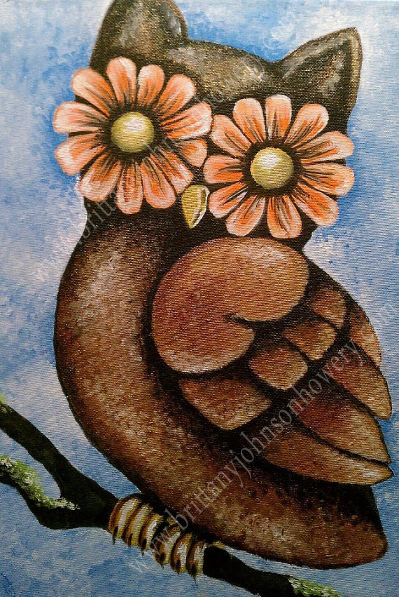 Cute Owl Painting On Canvas