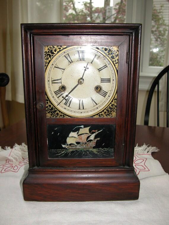 Antique Shelf Clock Reverse Painting Atkins Clock Company