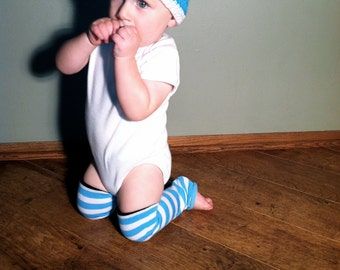 Baby Beanie in Bright Blue with White Trim for Baby Boys Ages 1-3