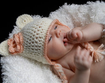 Baby Bear Ear Flap Hat with Flower in Cream/Light Pink, 0-3 Months