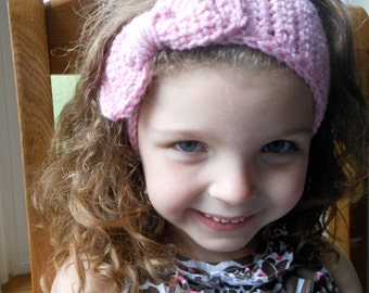 Crochet Pink Sparkly Earwarmer with Bow for Girls Ages 3-12