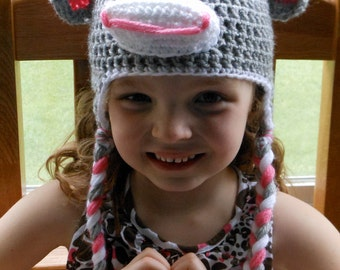 MADE TO ORDER Crochet Sock Monkey Hat for Girls Ages 1-6