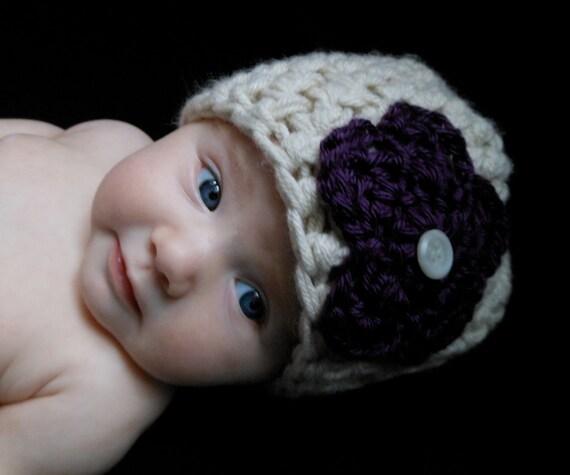 Baby Beanie in Cream with Dark Purple Flower for Baby Girls 0-3 Months