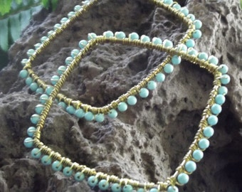 Bangles Set of Two Turquoise Beaded Hand Wire Wrapped Exotic Boho Genuine Stone Square Geometric Gypsy Stacked Set