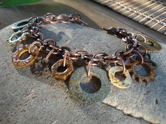 Hardware Jewelry Charm Bracelet With Oxidized Washers, Screws and Nuts