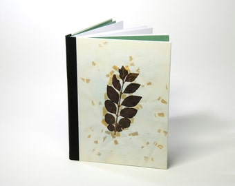 Handbound notebook (lined) with a unique vintage print of dried plants: Ligustrum