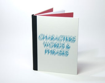 Handbound notebook (lined), with typographic cover design