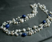 Hand Knotted Lapis Lazuli & Freshwater Pearl multi strand Necklace... Ivory white and Blue Gemstones - OOAK - Gift idea - Made To Order