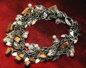 Jasper Pearl and Crystal Beaded Bracelet Antique Silver Chain Loads of Tiny Cha Cha Dangles Wire Wrapped