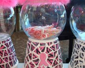 Breast Cancer Shabby Cottage Chic Pink Boa Zebra Mosaic Gumball Cookie Candy Dish