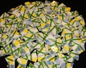 Blue Green Yellow Plaid Broken Repurposed China Mosaic Hand Cut Tiles