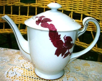 Mid Century Danish Modern Art Deco Aesthetic Teapot Vintage 1940's to 1950's Hand Painted Stylized Burgundy Bamboo White Porcelain 24K Gold