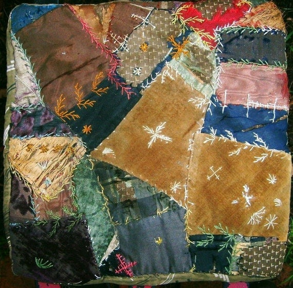 RESERVED Textile 1800's Victorian Children's Velveteen and Silk Crazy Quilt Doll Pillow / Country Farmhouse