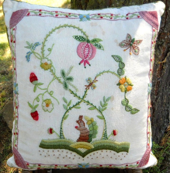 Vintage 1960s Bunny Rabbit Pink Butterfly Embroidery Cottage Chic Folk Art Pillow - French Chic Cottage Farmhouse Romantic Decorator Pillow