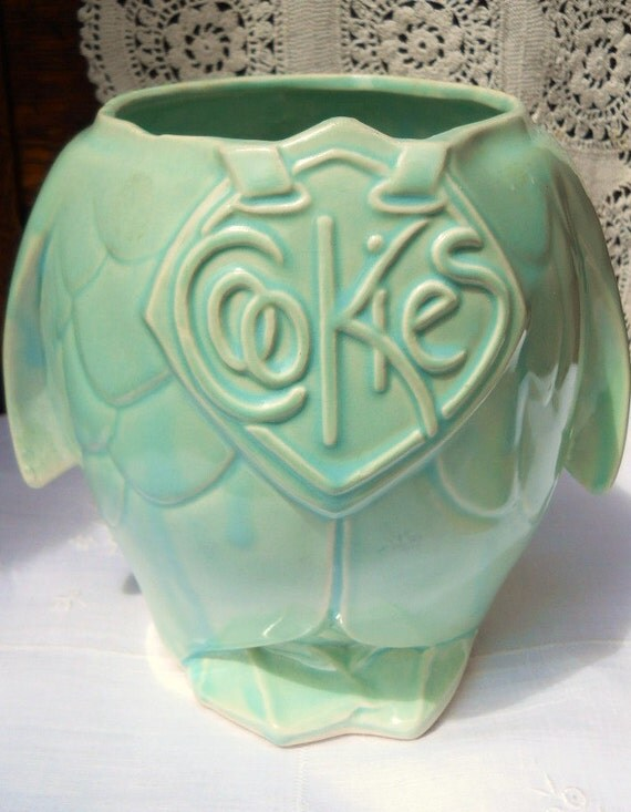 Vintage 1940's Cottage Aqua Green Turquoise McCoy Pottery Pelican Penguin Cookie Jar Base Vase