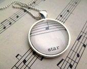 Necklace 'star' with Music Notes Vintage Sheet Music in Silver OOAK