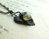 Peridot Gemstone with Blackened Brass Leaf // August Birthstone Necklace // Wire Wrapped Gemstone with Blackened Brass Details