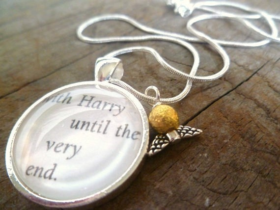 With Harry until the Very End Necklace / Harry Potter Jewelry with Golden Snitch Charm