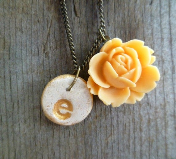 Personalized Initial Necklace with Rose // Your Choice of Letter // Cream, Gold and Peach // Shabby Chic Jewelry