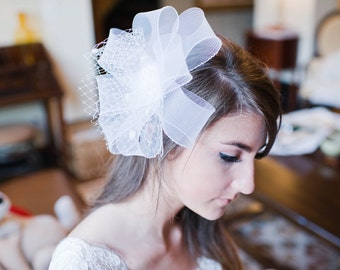 Modern horsehair braid bridal fascinator chenille dot birdcage veil accent Flora #165HP