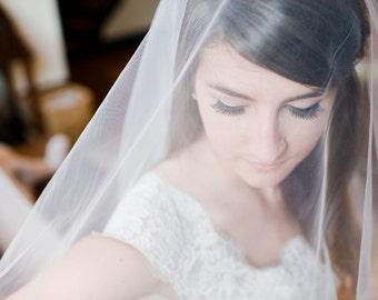Illusion tulle catherdral length drop bridal veil Royal# 190V