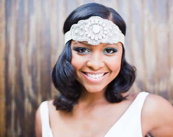 Art deco nontraditional bridal headpiece with tulle covered rhinestone with delicate silver threading and satin band Gabrielle # 122HP