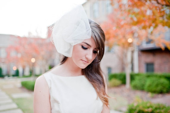 Russian birdcage veil non traditional bridal fasinator with delicate pearl accents Champagne # 110V
