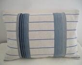 Vintage French Linen Grain Sack & Vintage French Ticking country farmhouse pillow.cushion
