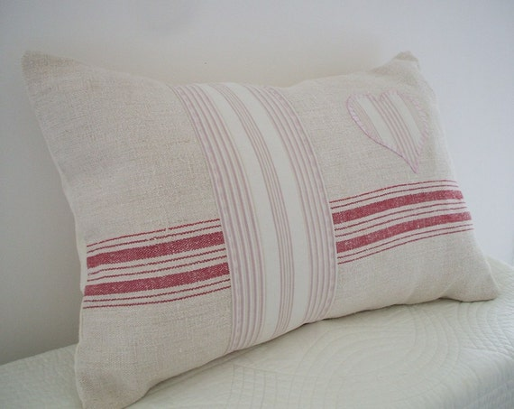 FRENCH GRAIN SACK vintage linen pillow.cushion.Vintage French Ticking, soft cream and pale pink