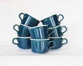 Teal Blue Ceramic Cups, Set of 8, Serving, Dinerware, Housewares, Coffee Mugs, Navy Blue, Winter Decor