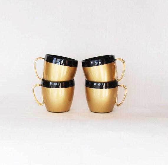 SALE Retro NFC Coffee Cups 1960s Gold Black Plastic Mad Men Mid Century Modern Decor