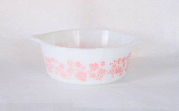 SALE Pink Pyrex Dish, White, Gooseberry Patterned, 1960, 1970, Kitchen, Houseware, Retro, Vintage