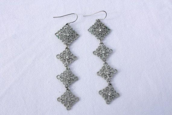SALE Tiered Cz Dangle Earrings