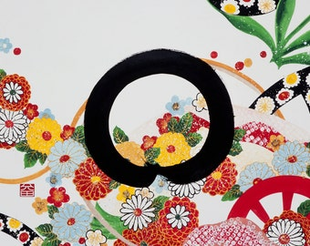 """Limited edition Fine Art Print 8x11"""" ENSO-HANZO"""" Zen circle Japanese calligraphy with flower blossom special poem for celebrating life"""