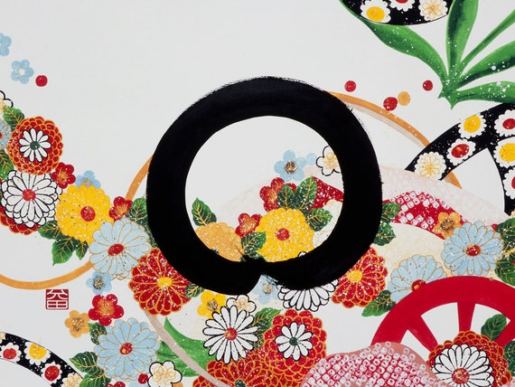 "Limited edition Fine Art Print 8x11"" ENSO-HANZO"" Zen circle Japanese calligraphy with flower blossom special poem for celebrating life"